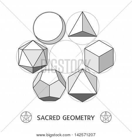 Plato classic geometry forms. Stock vector illustration