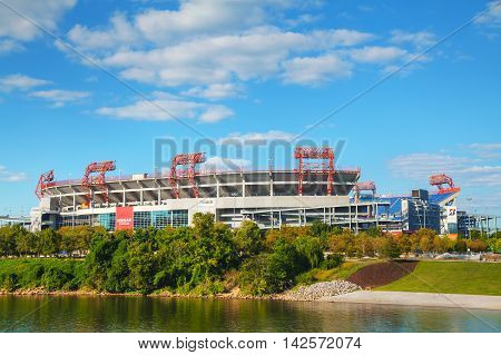 NASHVILLE - AUGUST 28: LP Field on August 28 2015 in Nashville TN. The stadium is the home field of the NFL's Tennessee Titans and the Tennessee State University Tigers.
