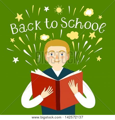 Cartoon schoolboy holding a book. Including back to school title. Education illustration for your design.
