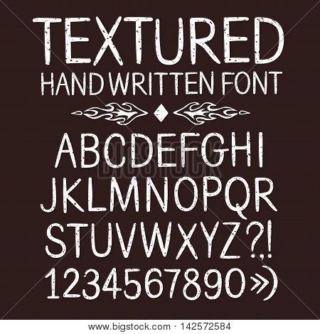Hand drawn textured vector ABC letters and figures. Versatile grungy doodle font for your design.
