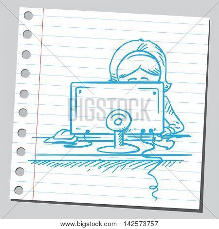 Businesswoman behind computer working