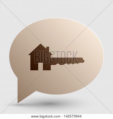 Home Key sign. Brown gradient icon on bubble with shadow.