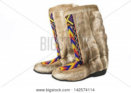 Arctic boots mukluks isolated on white background