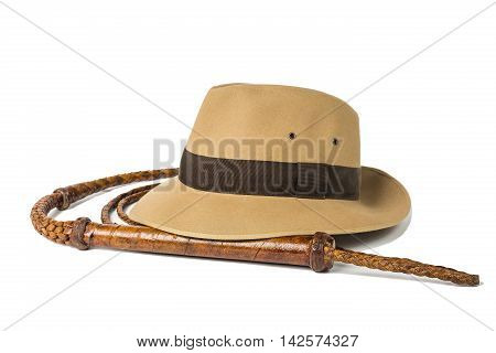 Fedora hat and whip isolated on white background.