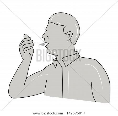 man sneezing from allergies or the flu. vector illustration