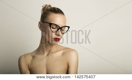 Portrait Handsome Pretty Young Lady Long Hair Empty White Background.Beauty Loveliness Fashion People Photo.Sexy Woman Wearing Black Classic Glasses Dreaming Closed Eyes.Studio Shot.Horizontal Image