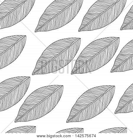Vector seamless pattern with tribal leaf. Tribal forest pattern. Nature backdrop, repeated background. Can be used as adult coloring book, coloring page. Foliage