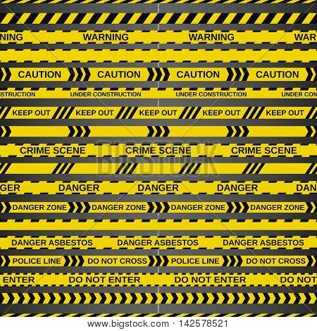 Vector set of 18 caution tapes on dark background. Illustration consists of