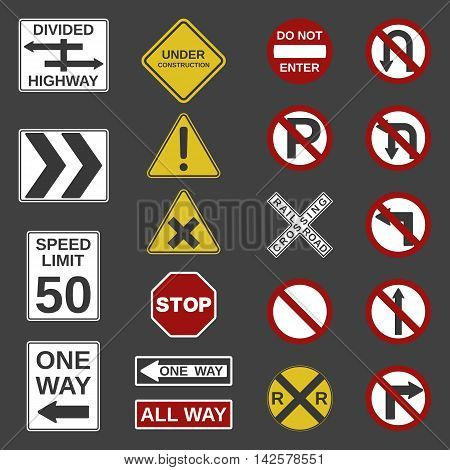 Vector 20 road signs collection.