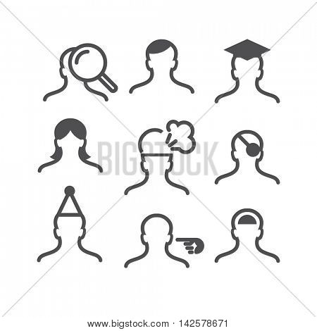 Human avatar thin line set:searching, hairstyle, graduating, woman, stressed, pirate, clown, pointing, smart