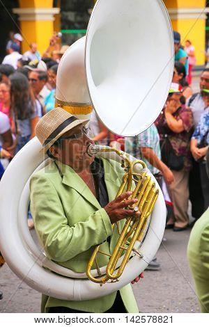 Lima, Peru-february 1: Unidentified Man Plays Sousaphone During Festival Of The Virgin De La Candela