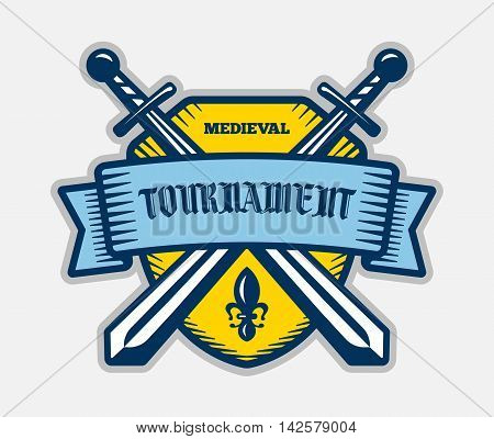 Medieval tournament fight sport vector logo. Knight pirate buccaneer warrior sword mascot. Color badge shirt design.