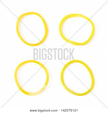 Single rubber loom band isolated over the white background, set of four different foreshortenings