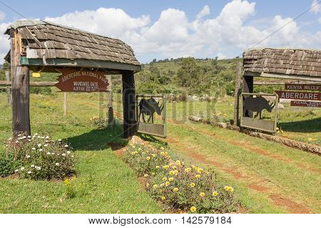 ABERDARE NATIONAL PARK, KENYA - SEPTEMBER 20, 2010: Entrance to Aberdare National Park, Kenya on September 20, 2010. The park is located from about 2,100 m to 4,300 m above sea level