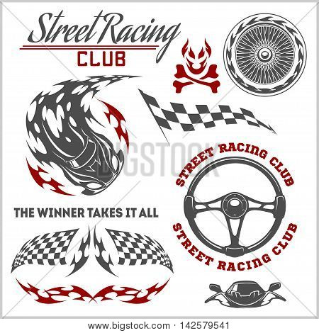 Car racing badges and design elements in retro style. Graphic design for t-shirt.