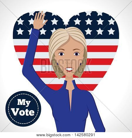 Vector illustration of american election for first woman candidate.Woman orator speech on usa election 2016.First lady president in blue suit with badge My Vote on american flag heart background