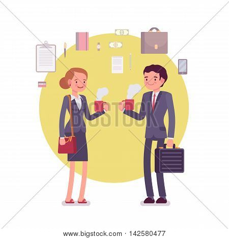 Office workers drinking coffee. Business items around. Man and woman are in a formal wear. Cartoon vector flat-style concept illustration