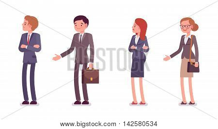 Refusing a handshake. Men and women are in a formal wear. The set of characters isolated against the white background. Cartoon vector flat-style business illustration