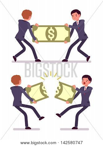 Businessmen are pulling and tearing a papernote. Cartoon vector flat-style concept illustration