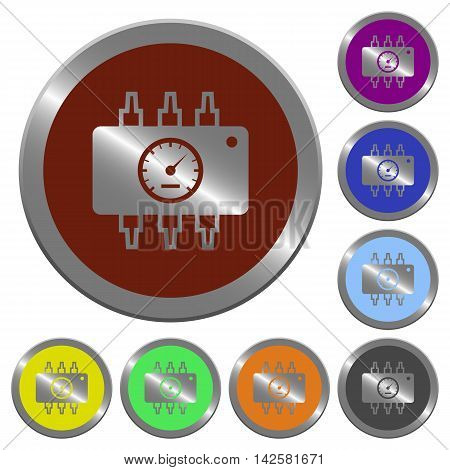 Set of color glossy coin-like chip tuning buttons poster