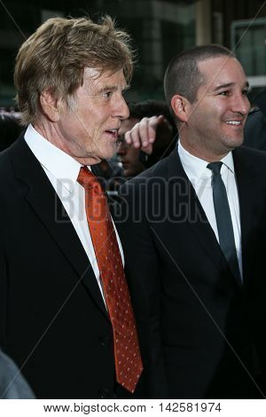 NEW YORK-APR 27: Honoree Robert Redford (L) attends the 42nd Chaplin Award Gala at Alice Tully Hall, Lincoln Center on April 27, 2015 in New York City.