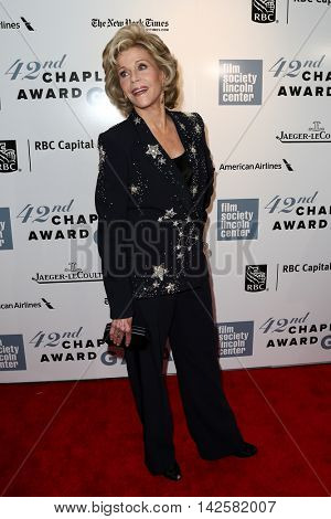 NEW YORK-APR 27: Actress Jane Fonda attends the 42nd Chaplin Award Gala at Alice Tully Hall, Lincoln Center on April 27, 2015 in New York City.