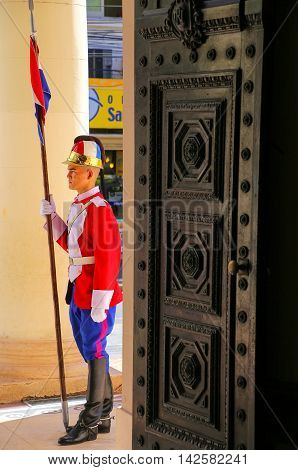 Asuncion, Paraguay - December 26: Unidentified Man Guards National Pantheon Of The Heroes On Decembe