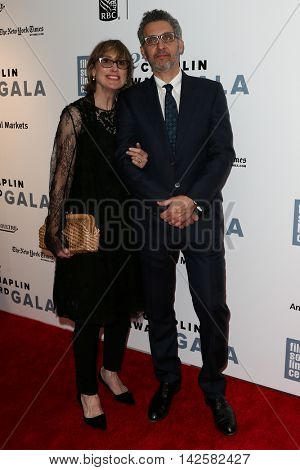 NEW YORK-APR 27: Actor John Turturro (R) and wife  Katherine Borowitz attend the 42nd Chaplin Award Gala at Alice Tully Hall, Lincoln Center on April 27, 2015 in New York City.