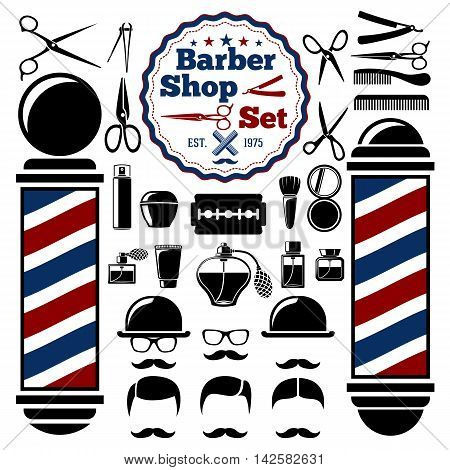 Vector Barber Shop accessories set. With silhouettes of barber instruments, barber pole, hairstyles. Vintage style.