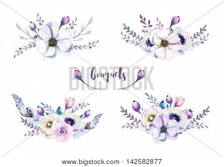 Set of watercolor vintage floral bouquets with feather. Boho spring flower and leaf frame isolated on white background. Bohemian spring rose.