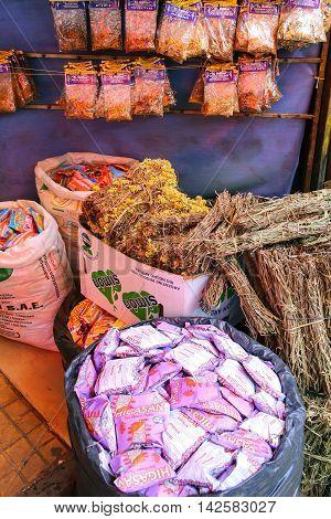 Asuncion, Paraguay - December 26: Display Of Herbs At Mercado Cuatro On December 26, 2014 In Asuncio