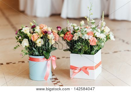 Two Beautiful Bouquet Of Bright Flowers In Basket