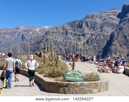 Colca, Peru-january 16: Mirador Cruz Del Condor On January 16, 2015 In Colca Canyon, Peru. It Is Ver
