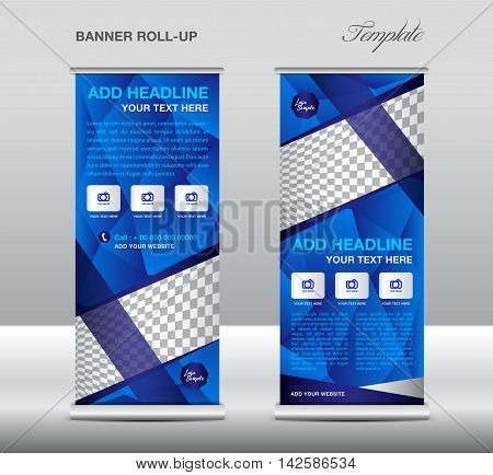 Blue Roll up banner template vector, polygon background, roll up stand, banner design, flyer, advertisement