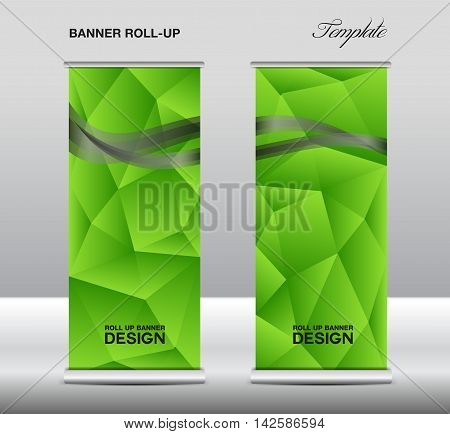 Green Roll up banner template vector, polygon background, roll up stand, banner design, flyer, advertisement