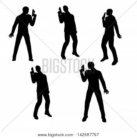 Gunman Businessman Silhouette In Black