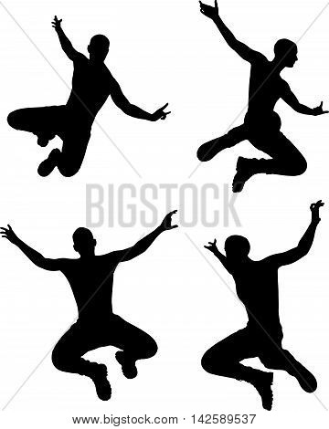 Man Silhouette In Jump Pose