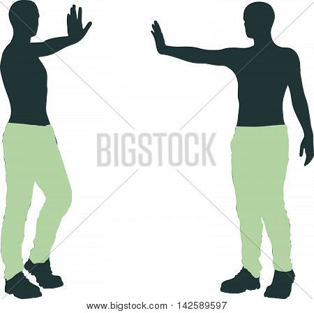 Man Silhouette In Stern Pose