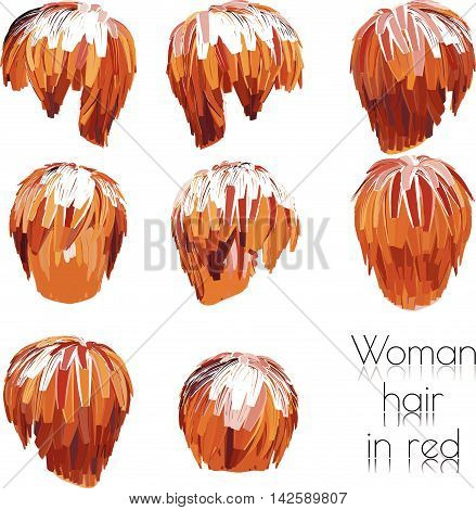 EPS 10 vector illustration of woman hair in red.