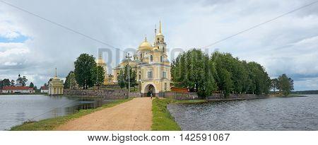 Monastery Nilov on Stolobny island on Lake Seliger. Panoramic view. Russia
