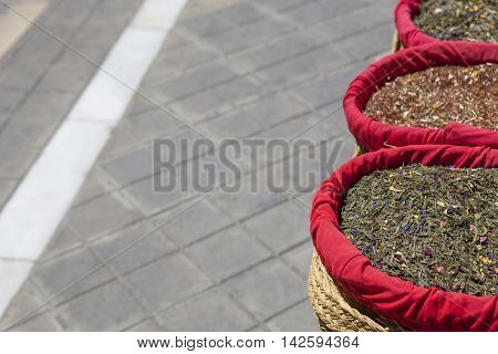 Spices seeds and tea sold in a traditional street market