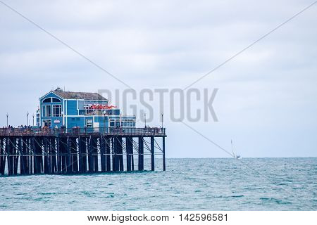 Ruby's Diner overlooks the Pacific Ocean on the Oceanside Pier in California on July 6, 2016.
