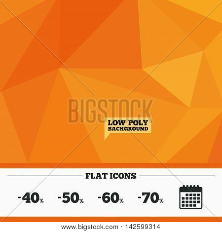 Triangular low poly orange background. Sale discount icons. Special offer price signs. 40, 50, 60 and 70 percent off reduction symbols. Calendar flat icon. Vector