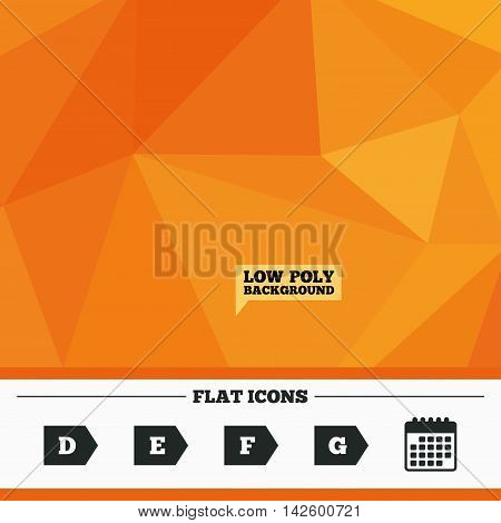 Triangular low poly orange background. Energy efficiency class icons. Energy consumption sign symbols. Class D, E, F and G. Calendar flat icon. Vector