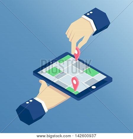 concept of mobile navigation on tablet isometric design isometric hands holding tablet with mark on the map