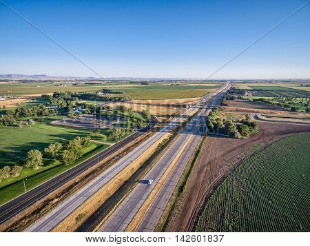 aerial view of i I-25 freeway north of Fort Collins, Colorado
