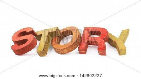 Word Story made of colored with paint wooden letters, composition isolated over the white background