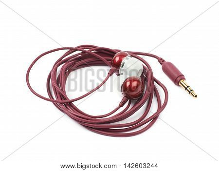 Pair of maroon colored earplug headphones isolated over the white background