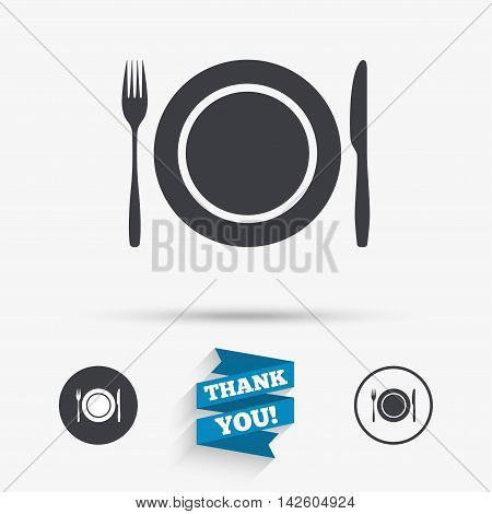 Plate dish with fork and knife. Eat sign icon. Cutlery etiquette rules symbol. Flat icons. Buttons with icons. Thank you ribbon. Vector