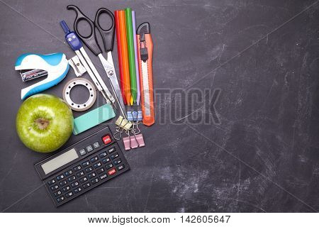 Top view of school supplies - Back to school concept